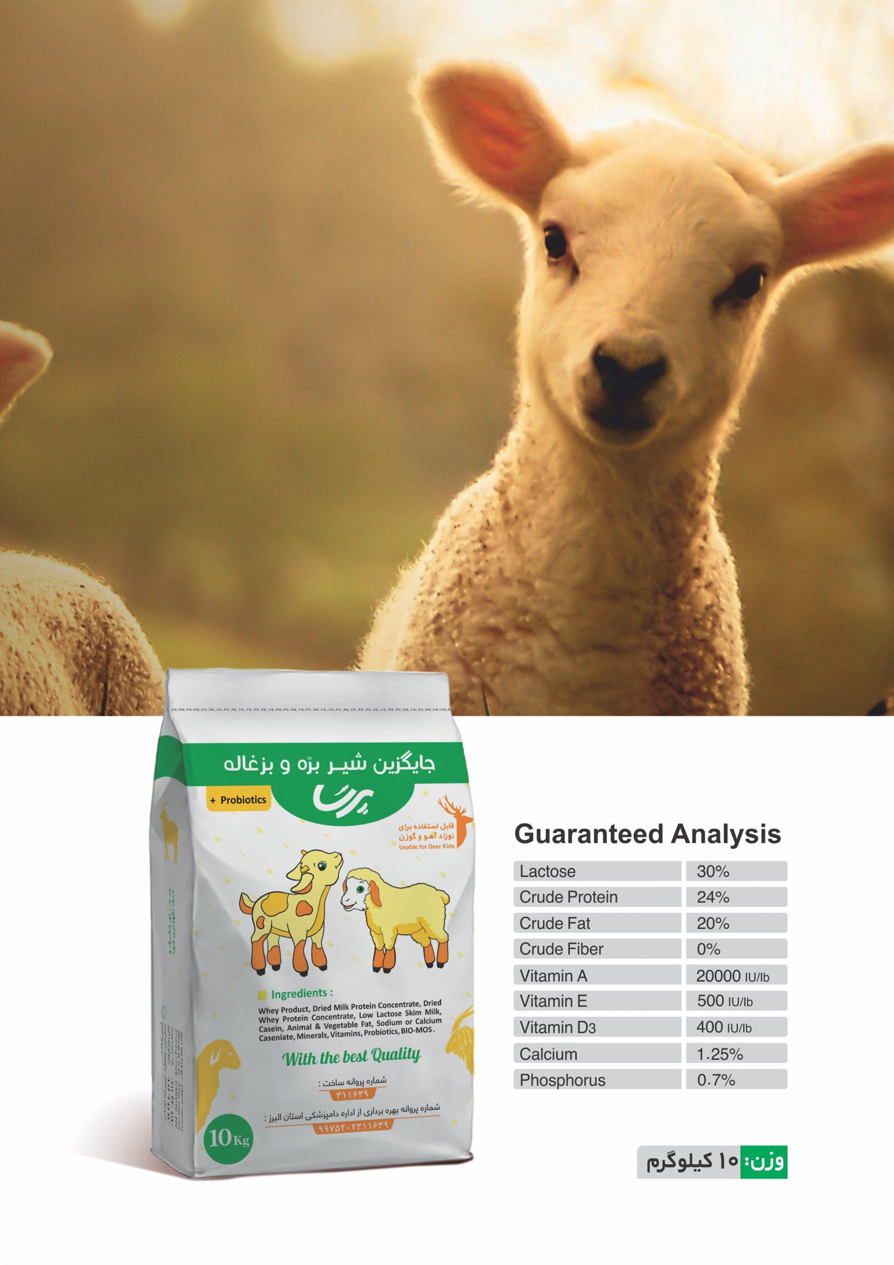 Lamb and goat milk replacer